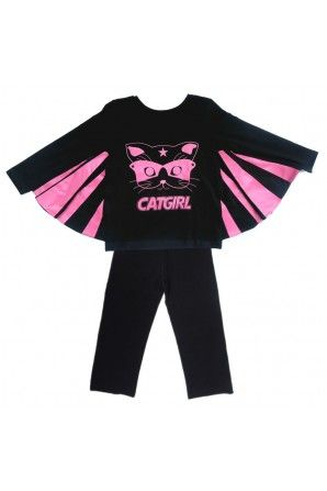Cat Girl Pyjama set - Black/ Pink  #FrenchFlair @TendreDeal These are so cool and perfect for my daughter who loves playing at being a superhero! Jessica Powell