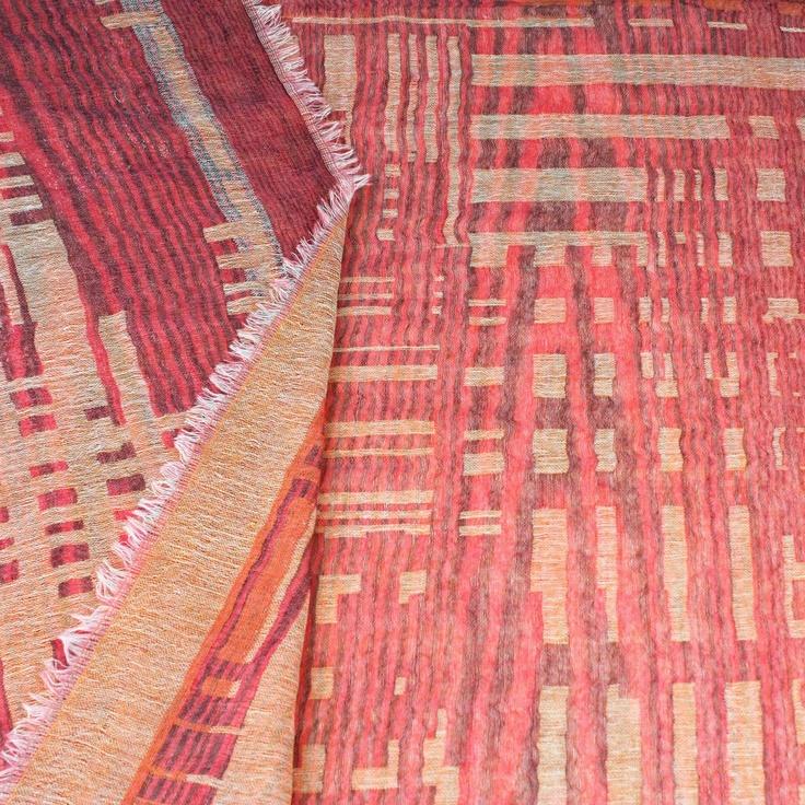 'Bauhaus' Flame Red & Orange Wool Scarf from Juniper Hearth. Geometric design in 100% fine wool. $89.