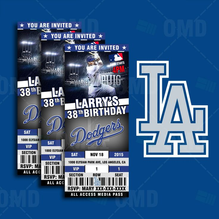 2.5x6 Los Angeles Dodgers Baseball Sports Party Invitation, LA Sports Tickets Invites, Baseball Birthday Theme Party Template by sportsinvites