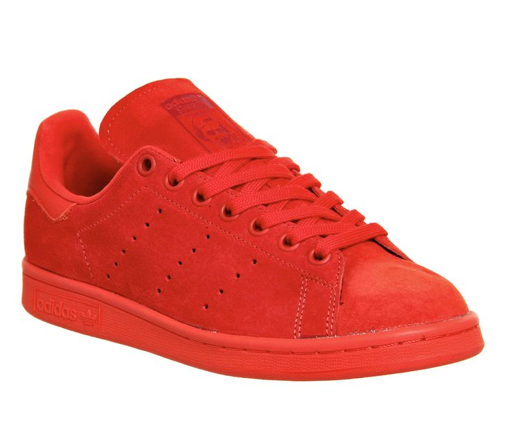 Red Mono Suede Adidas Stan Smith from OFFICE.co.uk.