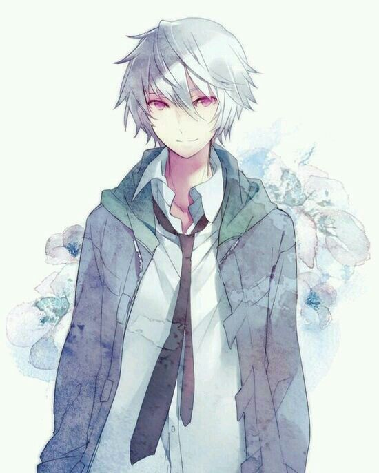 Anime boy silver hair blue eyes