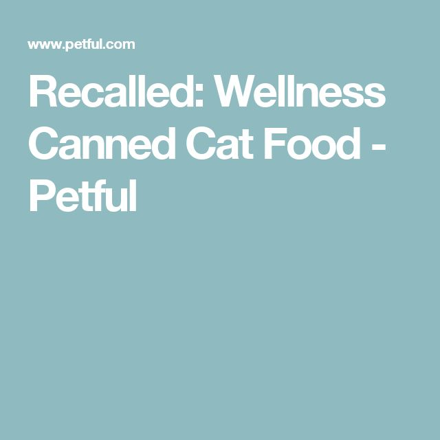 Recalled: Wellness Canned Cat Food - Petful