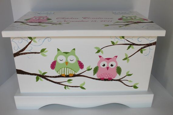 Owl Keepsake Chest green/pink combo box by staciedale on Etsy, $185.00