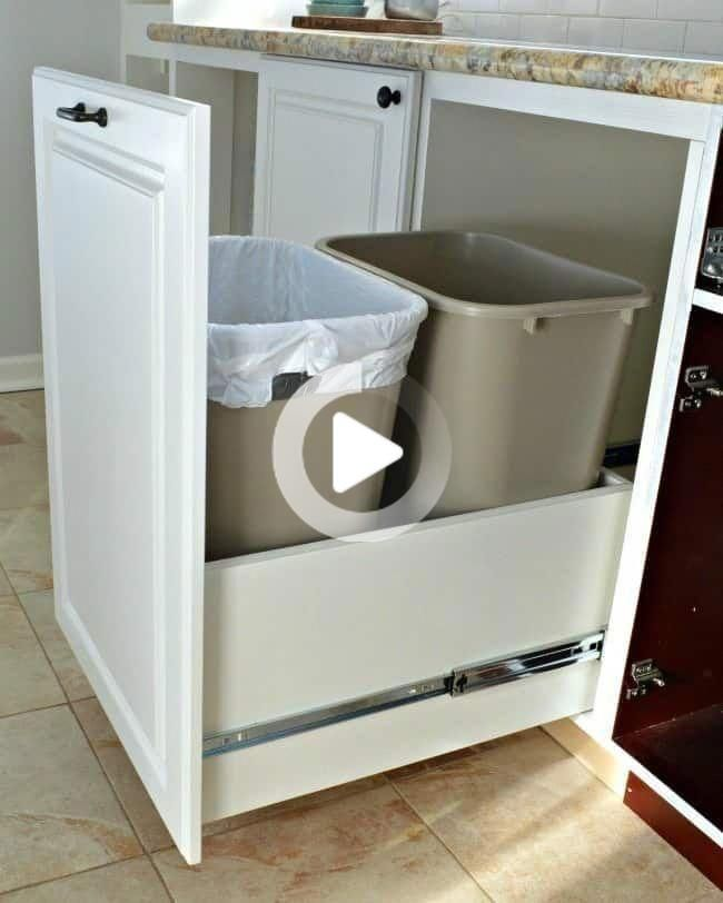 How To Make A Diy Pull Out Trash Can In 2020 Diy Kitchen Storage Diy Kitchen Kitchen Storage Solutions