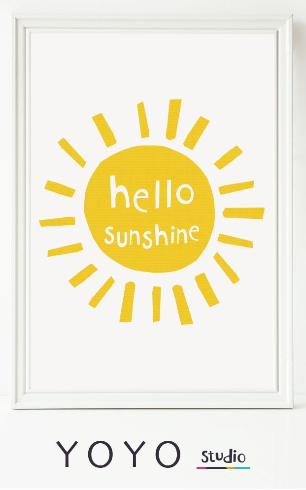 Hello Sunshine. You are my sunshine. This sweet sunny print will brighten up a nursery, playroom or kitchen. Printable art is instantly downloadable and cheep. Have it hanging in your home by lunchtime!