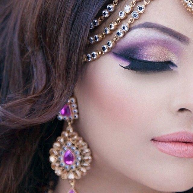 Purple Eyeshadow Desi Bridal Makeup And Jewelry