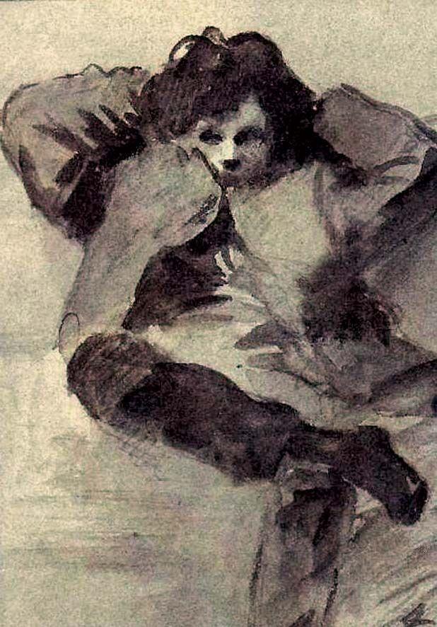 Arthur Rimbaud, par Jean-Louis Forain (lavis de brun . 1872)