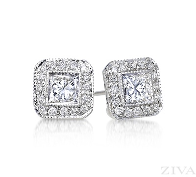 Princess Cut Diamond Stud Earrings with Pave Halo