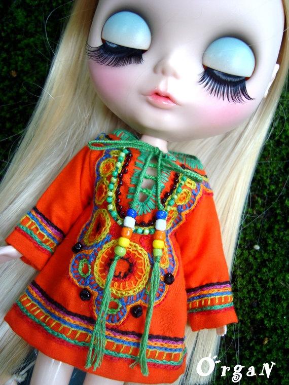 OOAKLittle India Art TunicTangerine DRESSwith hand  by organ111, $26.00