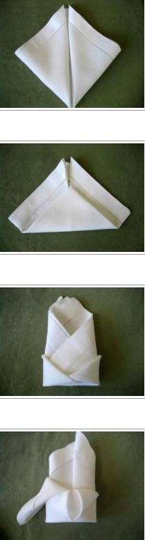 Crown Napkin Folding Style Tutorial - The crown fold is very similar to the bishops hat fold in that it looks great lying down or standing up.