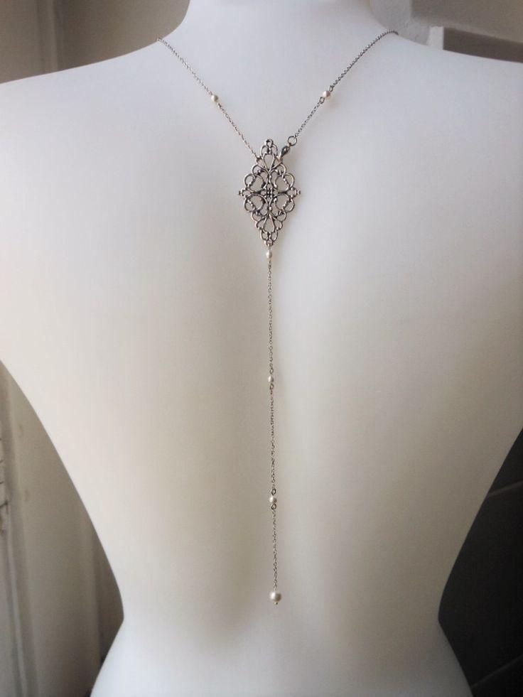 Collier bijou de dos pour mariage style retro Années Folles 1920's perles swarovsky avec connecteur arabesque : Collier par les-bijoux-d-aki