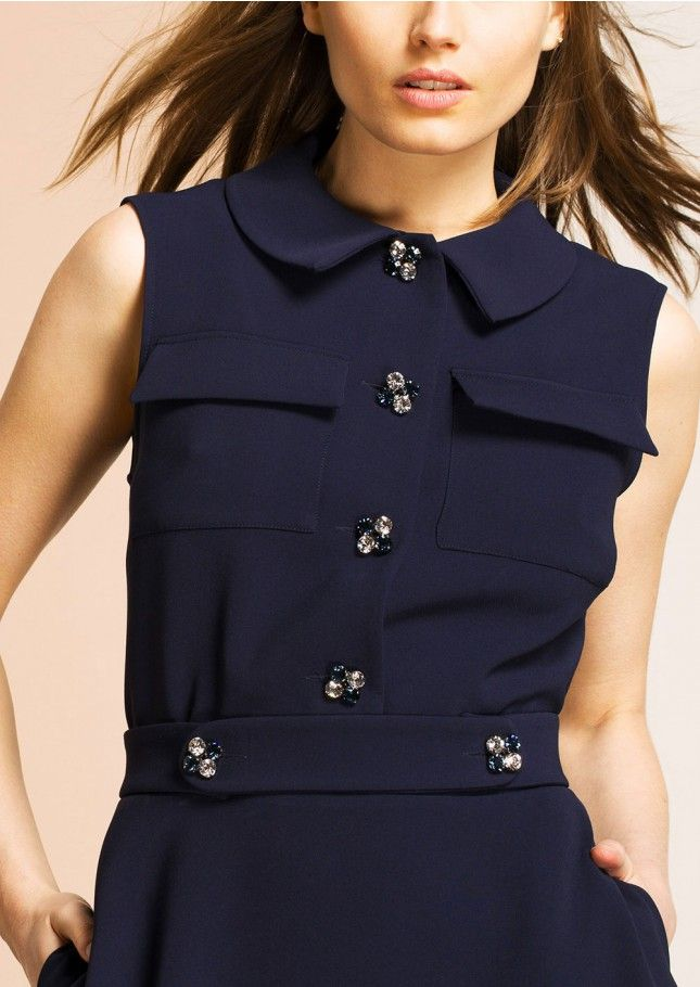Navy mini dress with jewel buttons femme - tara jarmon 3