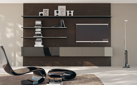 LiberaMente by #Scavolini. A #living area composition that highlights a Decorative Forest Oak  back panel, which features a suspended modular element  (Titanium Grey polished glass doors and top) and Titanium  Grey glossy lacquered shelves that come in various sizes. #kitchen