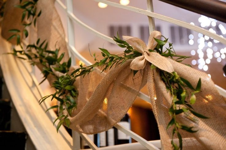 rail decorations for a wedding | Burlap Rail Banner