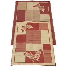 fireside patio mats elegant butterfly burgundy and coral 6 ft x 9 ft reversible patiorv the home depot - Patio Mats