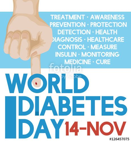 Hand Measuring Glucose Levels with Precepts of World Diabetes Day