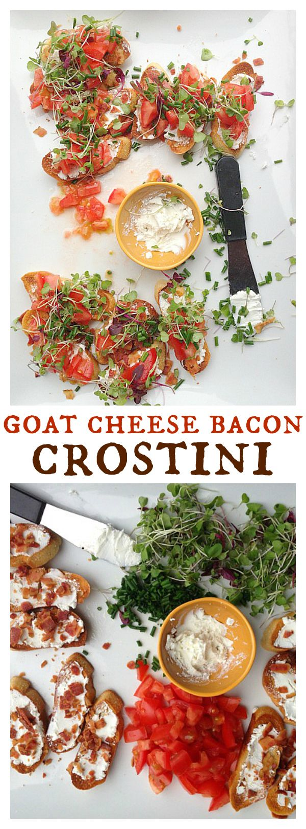 Goat Cheese Bacon Crostini and Micro Greens
