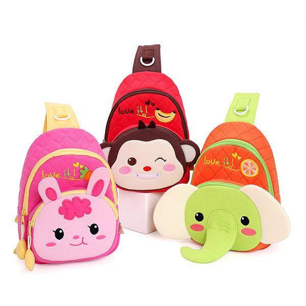 Kids Lovely Cute Bags Cartoon Elegant Rabbit Monkey Chest Bags Shoulder Bags