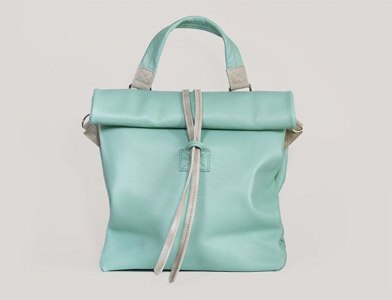 Женская кожаная сумка через плечо среднего размера от ARadaStore на Etsy. Chandler Breeze - Handmade Leather Bag / Mint Handbag / Mint Lunch Bag / Mint Clutch / Mint Crossbody Bag
