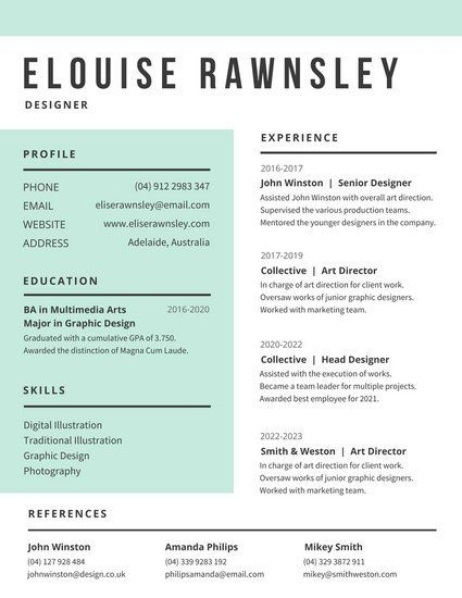 White And Aquamarine Modern Resume
