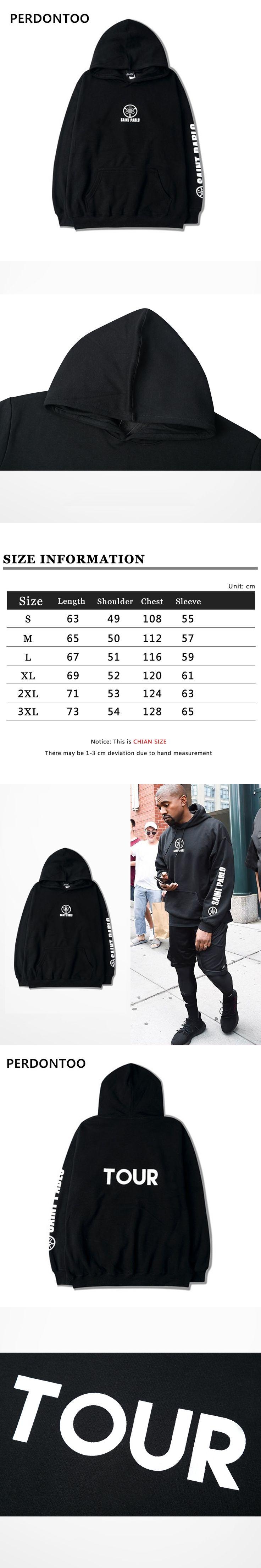 2017 New Saint Pablo Hoodies Kanye West I feel like pablo TOUR Sweatshirts With Fleece Men Hoody