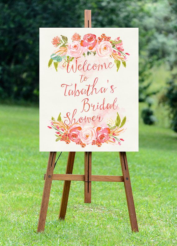 Welcome guests to your bridal shower with a lovely, whimsical sign. Perfectly compliments blush, feminine, whimsical showers and features hand painted watercolor roses and a watercolor washed background.  INCLUDED:  This listing is for a custom PRINTABLE, DIGITAL, high-resolution bridal shower sign. You will not receive any printed items.  Customization is available for background watercolor wash color, text color, and large rose color only. Layout cannot be altered.  Please see shop…