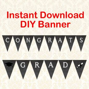 congrats grad printable graduation party banner instant download