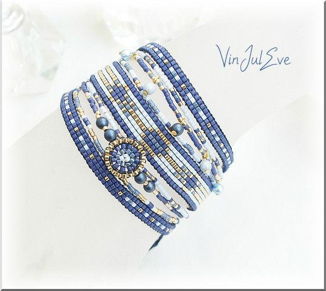 bracelet loom multi bandes bleu or 1