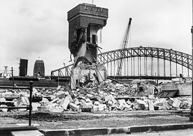 Dec. 30, 1958. The tram shed at Bennelong Point is demolished to make way for the construction of the Opera House.