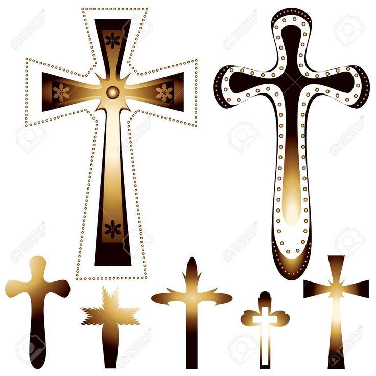 Conjunto De Siete Cruces Cristianas - Ilustración Vectorial Ilustraciones Vectoriales, Clip Art Vectorizado Libre De Derechos. Pic 14372247.