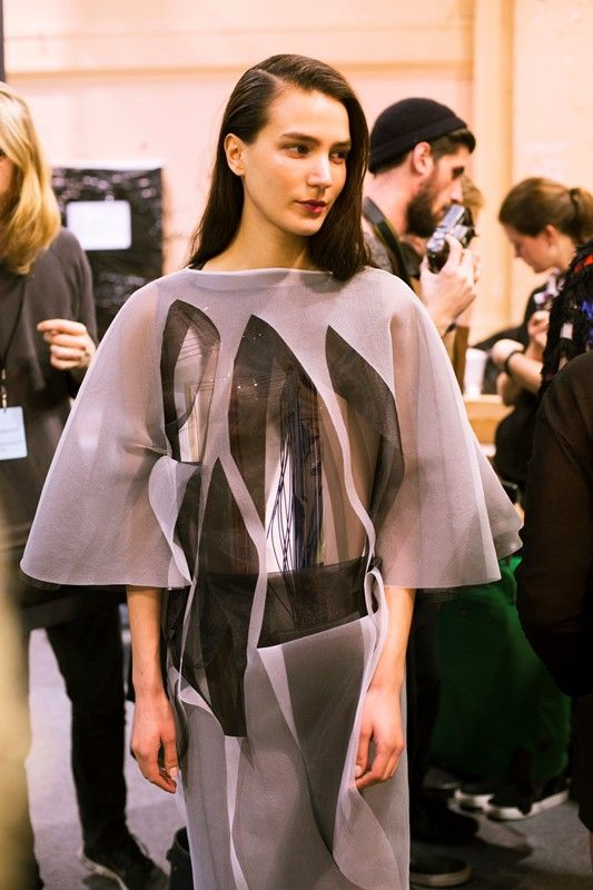 Slashed layers backstage at Chalayan AW14 PFW. More images here: http://www.dazeddigital.com/fashion/article/19064/1/chalayan-aw14
