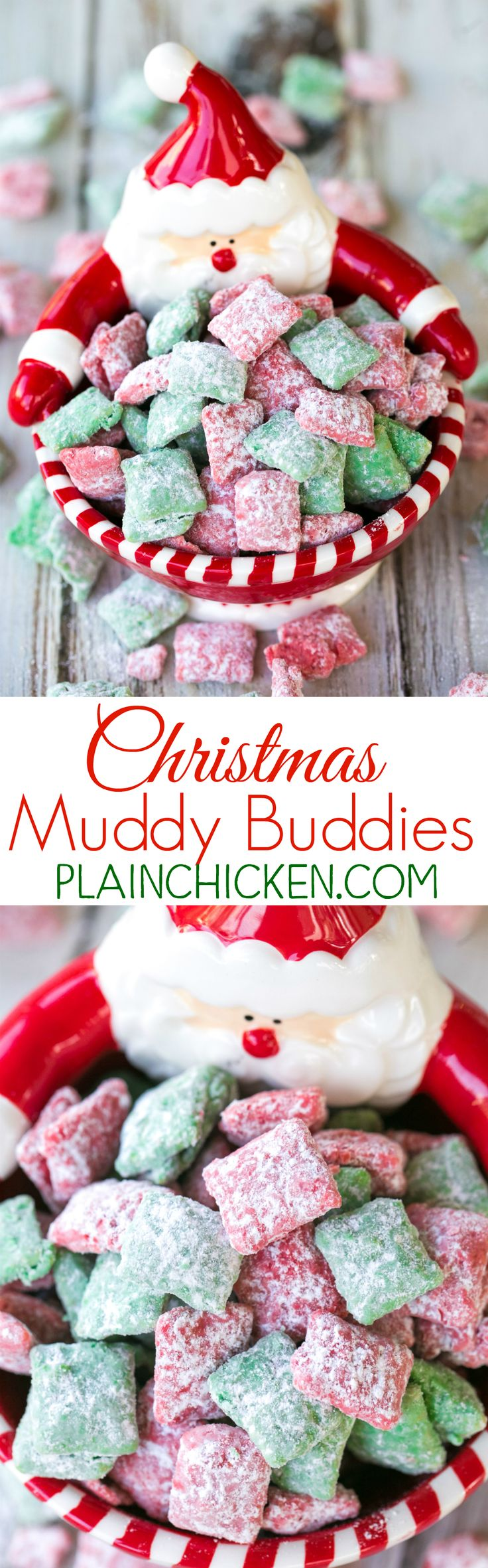 Christmas Muddy Buddies - chex cereal tossed in peanut butter, red and green candy melts and powdered sugar. This stuff is SO good! I am totally addicted to it!! This recipe makes a TON! Makes a great homemade gift for the holidays! (Christmas Kids Recipes)