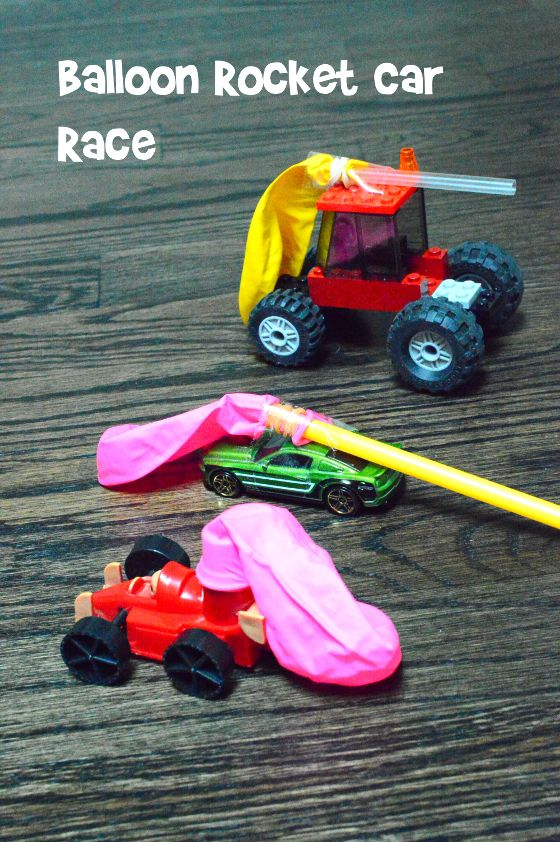 Excellent rainy day or sick day (parent's) activity - balloon car race is so much fun!