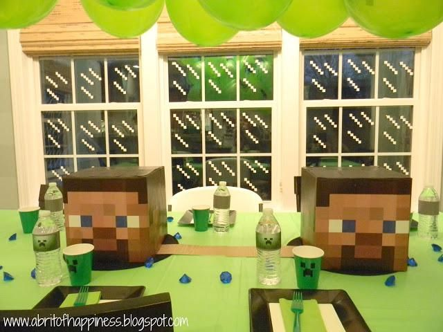 minecraft party ideas - love the windows and creeper wall