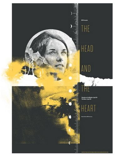 The Head And The Heart Concert Poster By Invisible CreaturePicture-Black Posters, Gig Posters, Heart Concerts, Heart Posters, Posters Design, Graphics Design, Covers Design, Concerts Posters, Advertising Poster