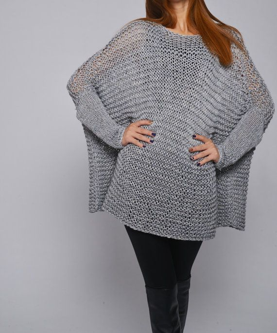 OVERSIZED Woman sweater/ Knit sweater in light grey by MaxMelody, $135.00