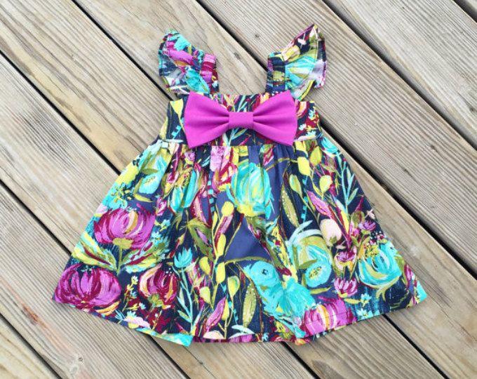 Mangas puffy florales iris gran arco vestido, vestido de flores arco grande de Pascua, traje de Pascua para niños pequeños, arco floral Vestido de bebé