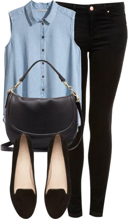 'Zoella style' - Black skinny jeans, Blue button down, Black handbag, Black ballet flats