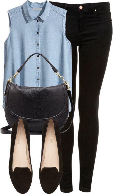 'Zoella style' | Black skinny jeans, Blue button down, Black handbag, Black ballet flats
