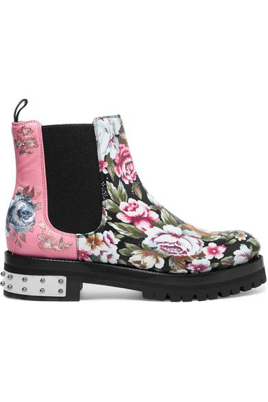 Alexander McQueen - Embroidered Printed Leather Chelsea Boots - Pink - IT40.5