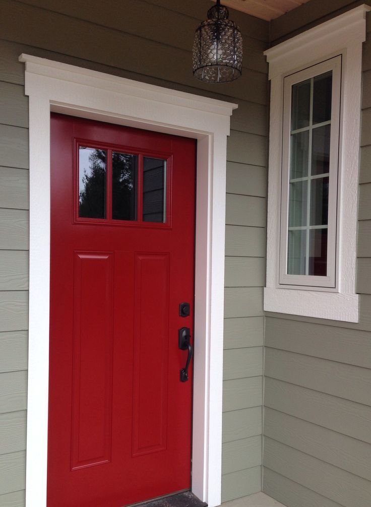 The 25 best red door house ideas on pinterest red doors red front doors and gray house white Best varnish for exterior doors