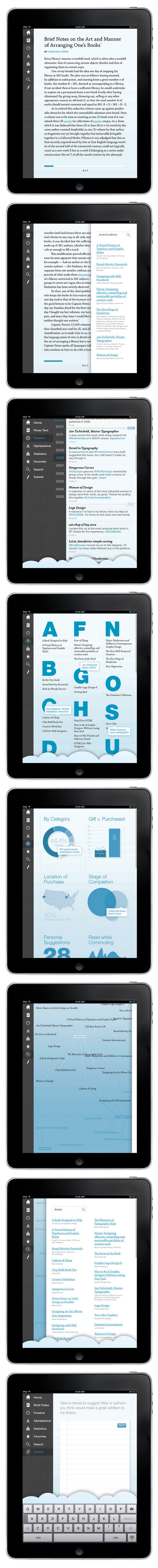 Now this is well thought out UI design - nice work. Social Bookshelf for the iPad / by Victoria Pater