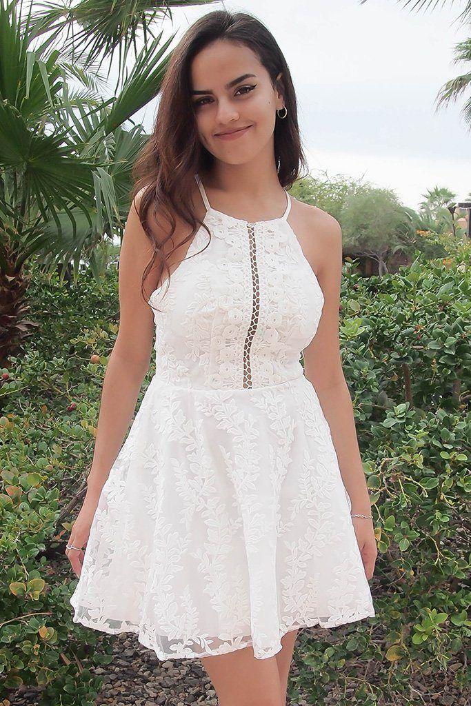 7112af7318e Cute White Dress - Skater Dress - Cut Out Dress – Ledyz Fashions