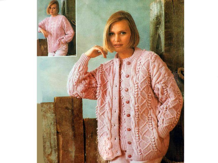 Womens Aran Cardigan & DK Sweater Knitting Pattern PDF ...