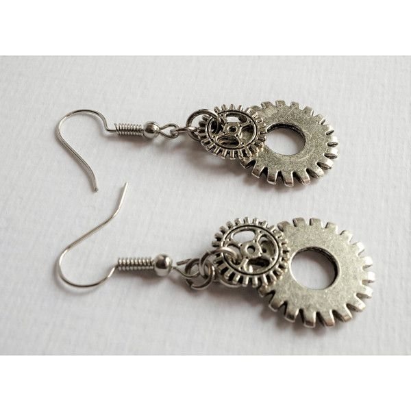 Short Steampunk Cogwheel Gear Antique Silver Earrings Goth Dangle... ($3.83) ❤ liked on Polyvore featuring jewelry, earrings, charm earrings, steampunk earrings, goth earrings, steampunk jewelry and spikes jewelry