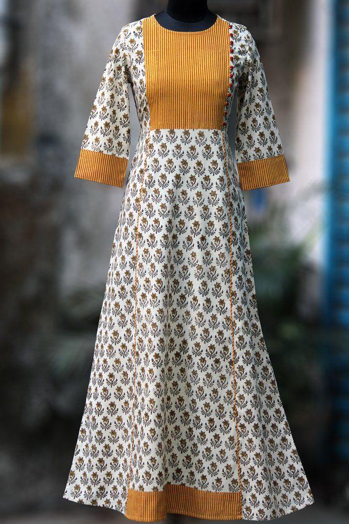 a-line dress - ivory daffodils & yellow sun