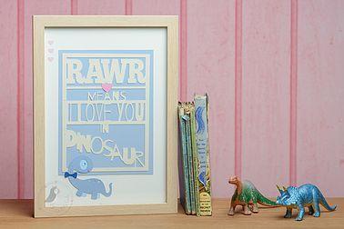 Pink Puffin Crafts | Framed Collection | Rawr Dinosaur | Nursery Decor
