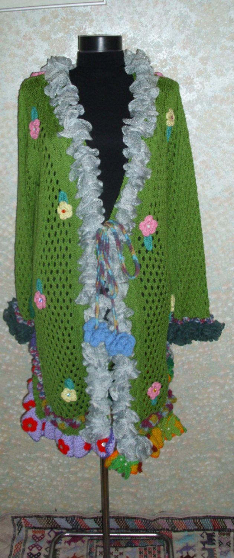 Cardigan,Bohemian Upcycled Cardigan,Romantic Jacket, Boho jacket,Upcycled Cardigan,Recycled Sweater,Recycled jacket,Asimetric jacket by RomanticHandmade on Etsy