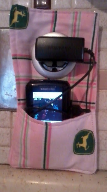 Pink John Deere Phone charger station  Phone holder  Made by kristinaprattdesigns, $10.00  Perfect for travel.