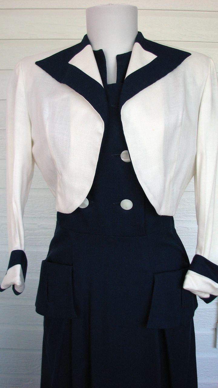 1940s Nautical Connie Carter Suit Dress Jacket Original